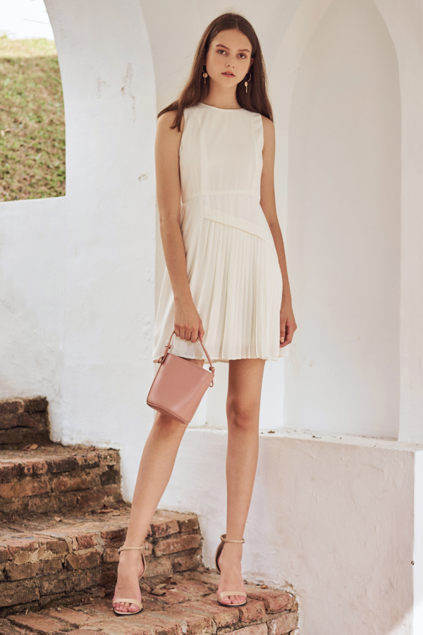 Laureen Pleated Dress in White