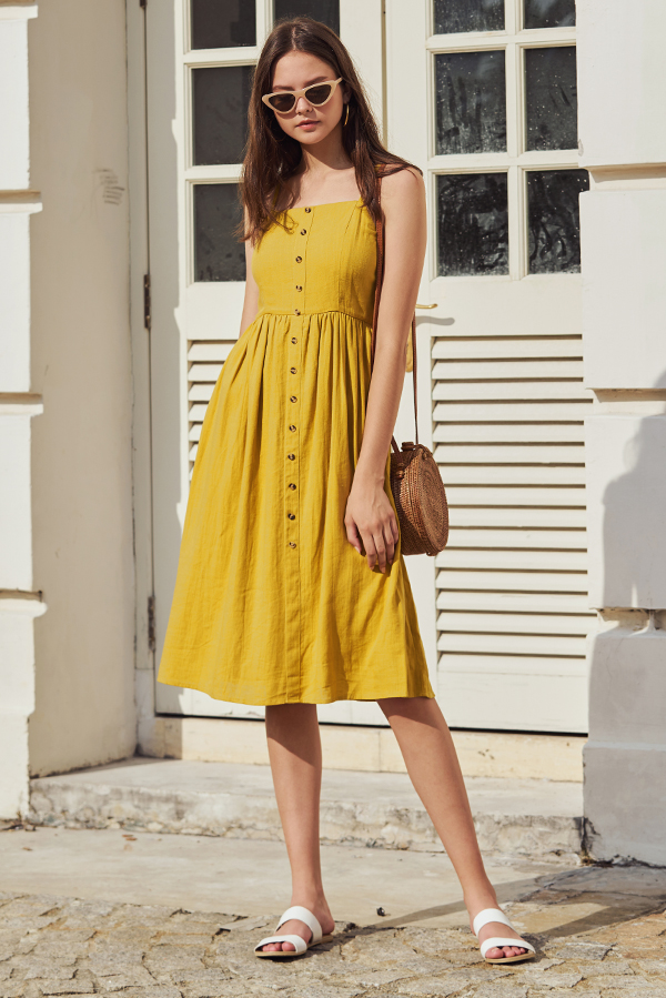 Jalenn Linen Midi Dress in Mustard