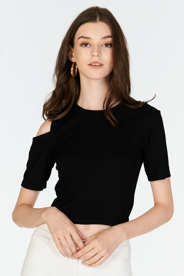 Janna Cold Shoulder Ribbed Tee in Black