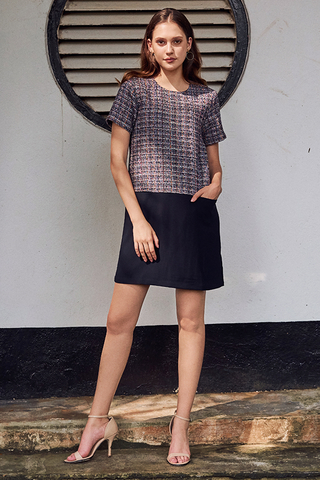 Rowana Tweed Colourblock Dress