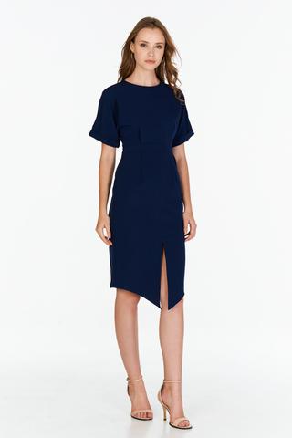 Chijmes Midi Dress in Navy