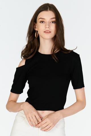 Janna Cold Shoulder Ribbed Tee in Black