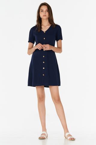 *Restock* Marella Linen Dress in Navy