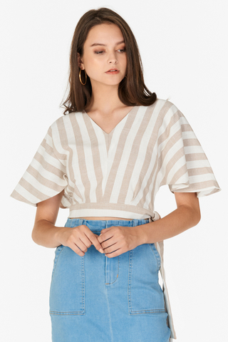 Roleen Striped Linen Top in Khaki