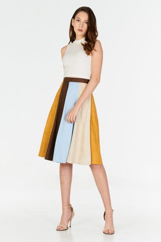 *Store Exclusive* Lucina Suede Midi Skirt in Tan