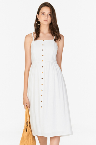 Jalenn Linen Midi Dress in White