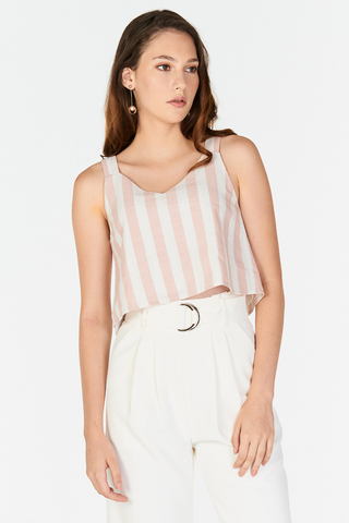 Ana Two-Way Linen Stripes Top in Pink