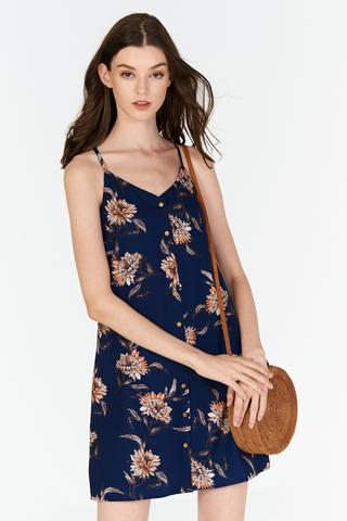 Sanna Floral Printed Dress in Navy