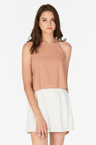 Kaia Linen Top in Nude Pink