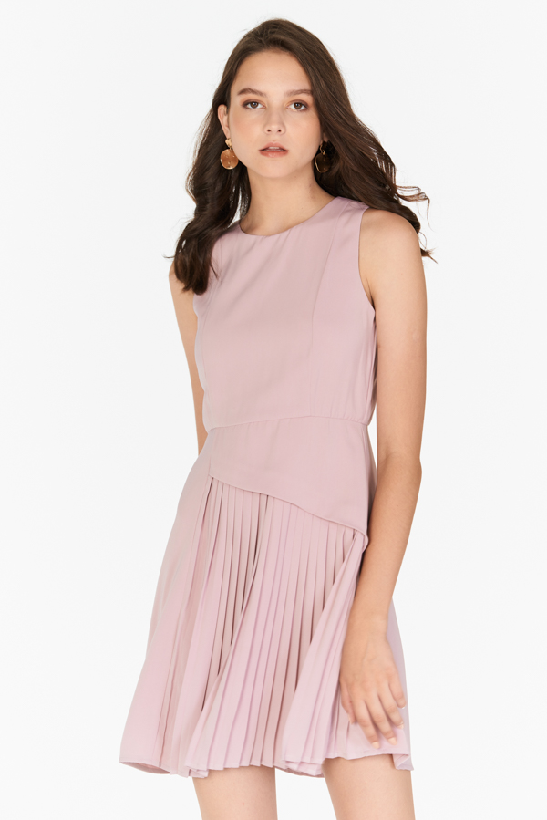 Laureen Pleated Dress in Pink