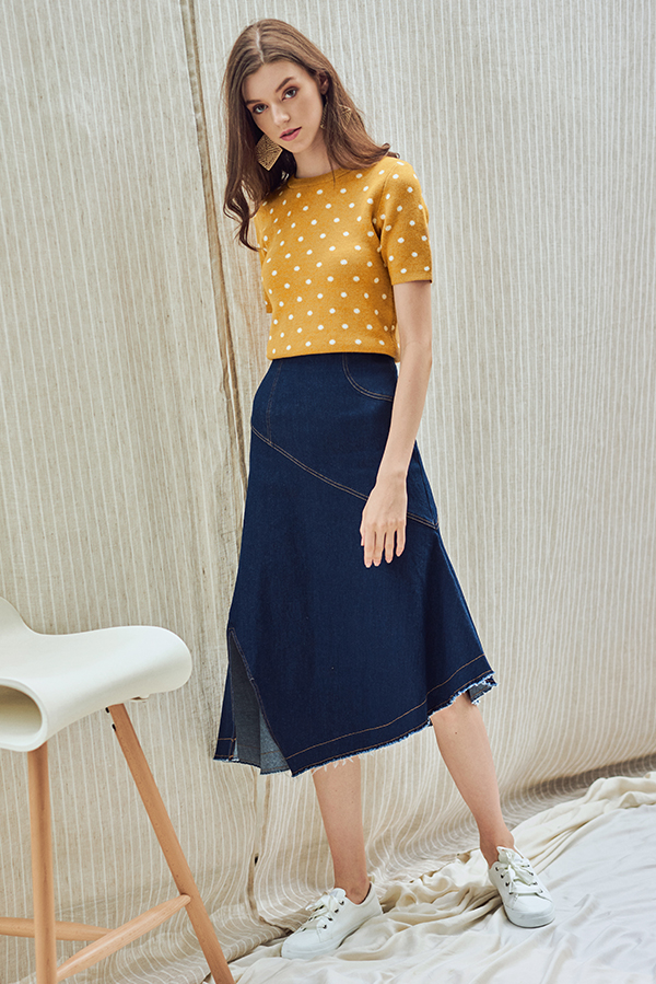Claudine Polka Dotted Knit Top in Mustard
