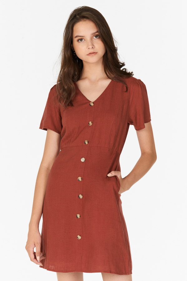 *Restock* Marella Linen Dress in Brick Red