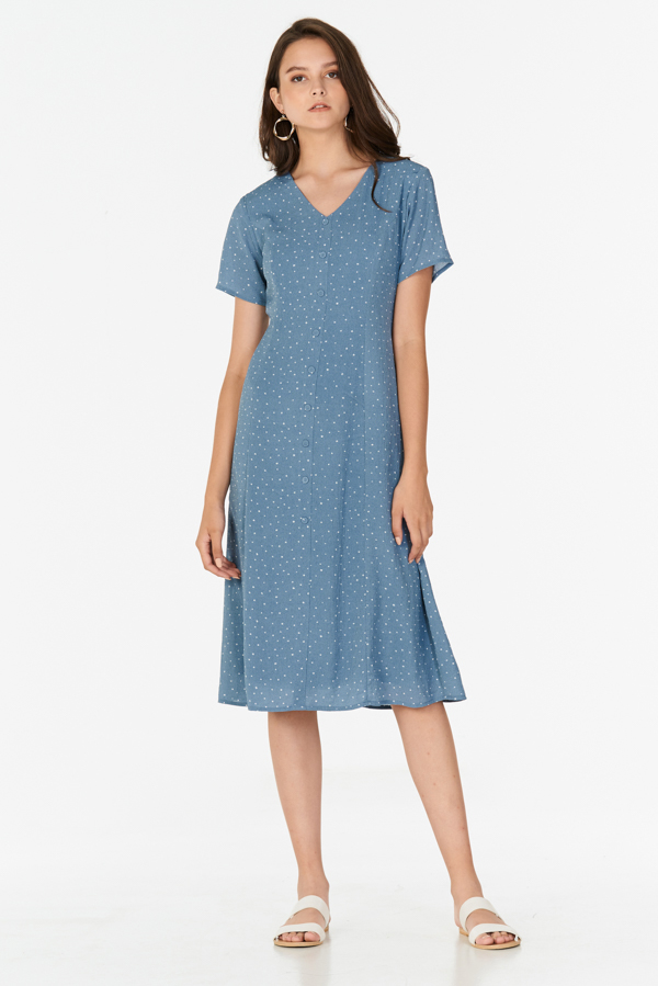 Lyna Polka Dotted Midi Dress in Blue