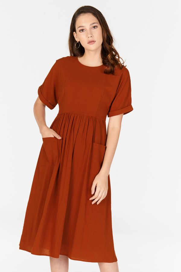 Elias Linen Midi Dress in Rust