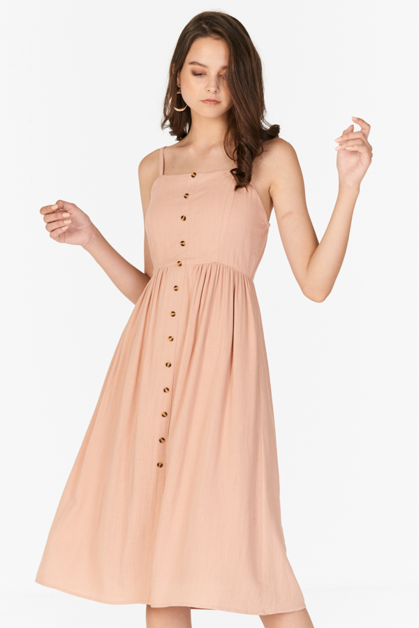 Jalenn Linen Midi Dress in Pink
