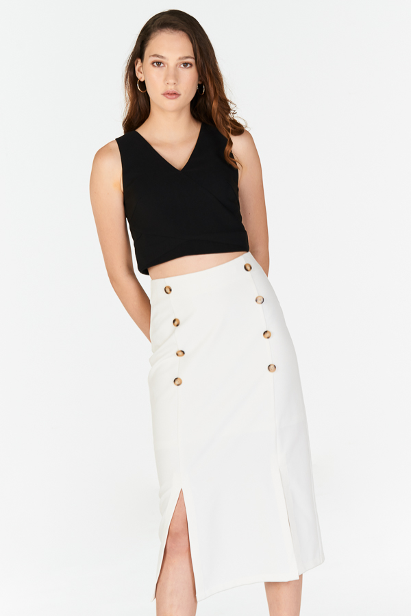 Alivia Buttoned Midi Skirt in White