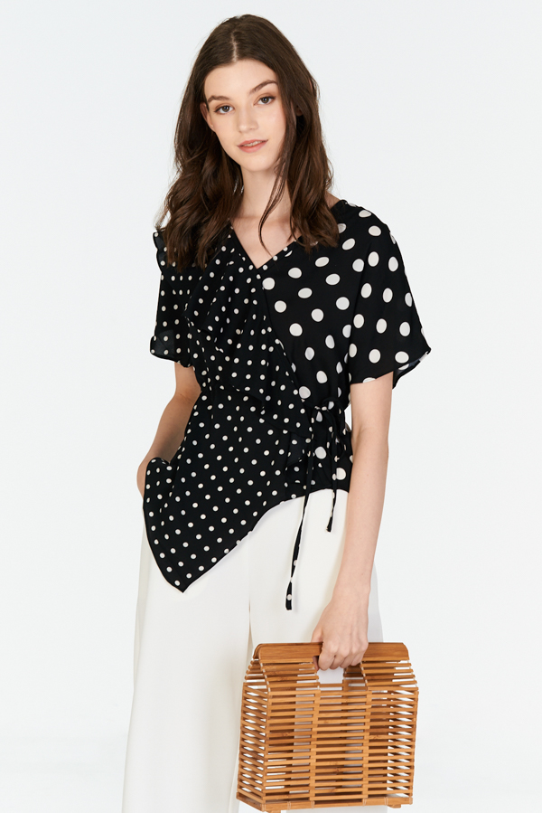 Carmine Polka Dotted Top