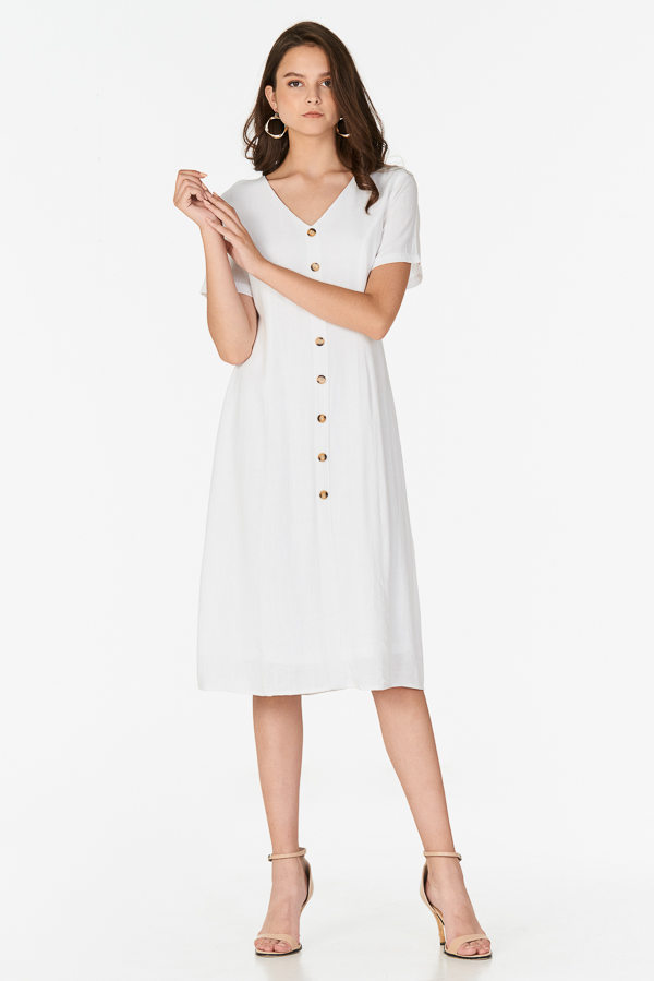 *Restock* Marella Linen Midi Dress in White