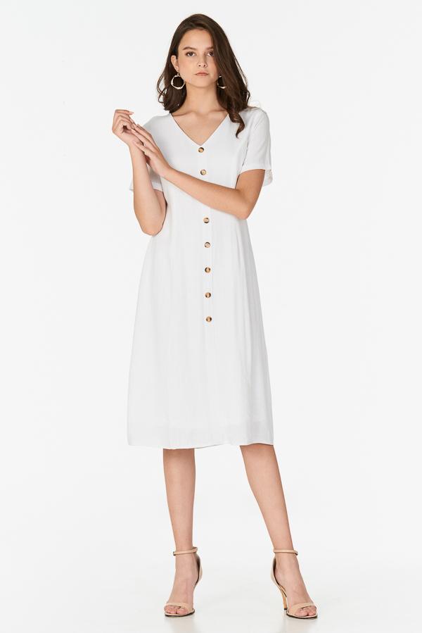*Pre-order* Marella Linen Midi Dress in White