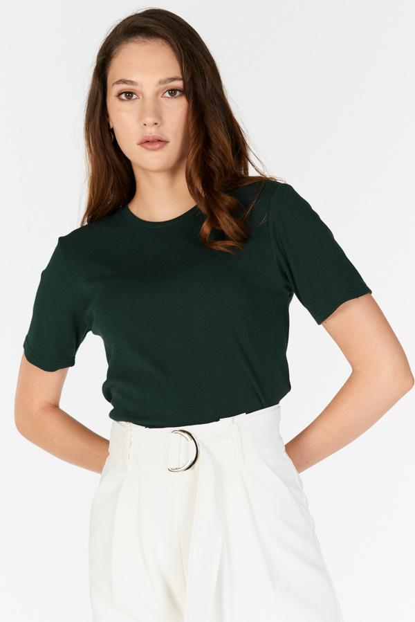 Careen Ribbed Tee in Forest