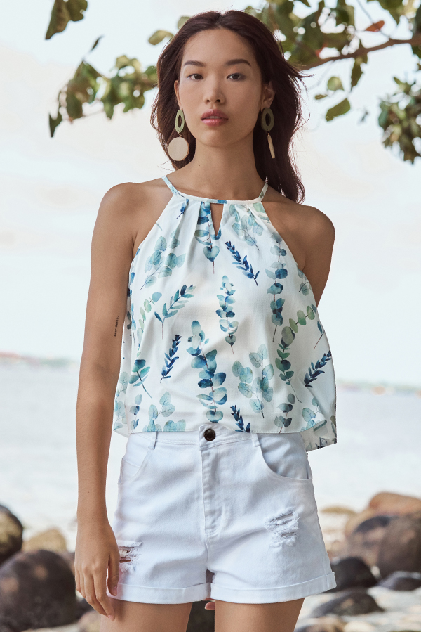 Keirra Botanical Printed Kinfolk Top
