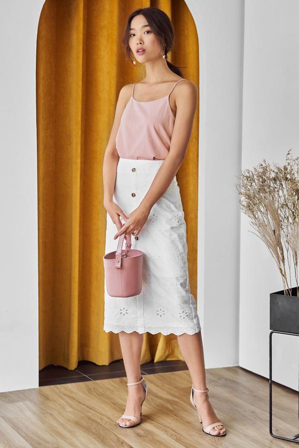 Morene Eyelet Midi Skirt