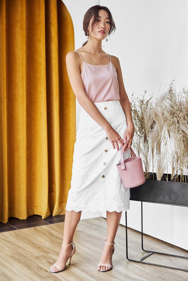 Kourtney Two Way Linen Top in Pink