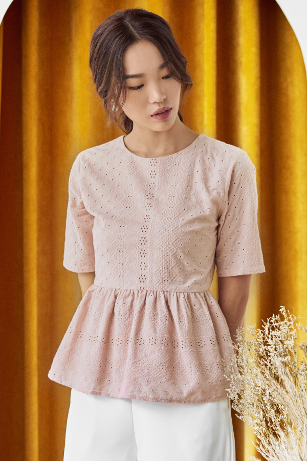 Lorise Eyelet Peplum Top in Light Pink