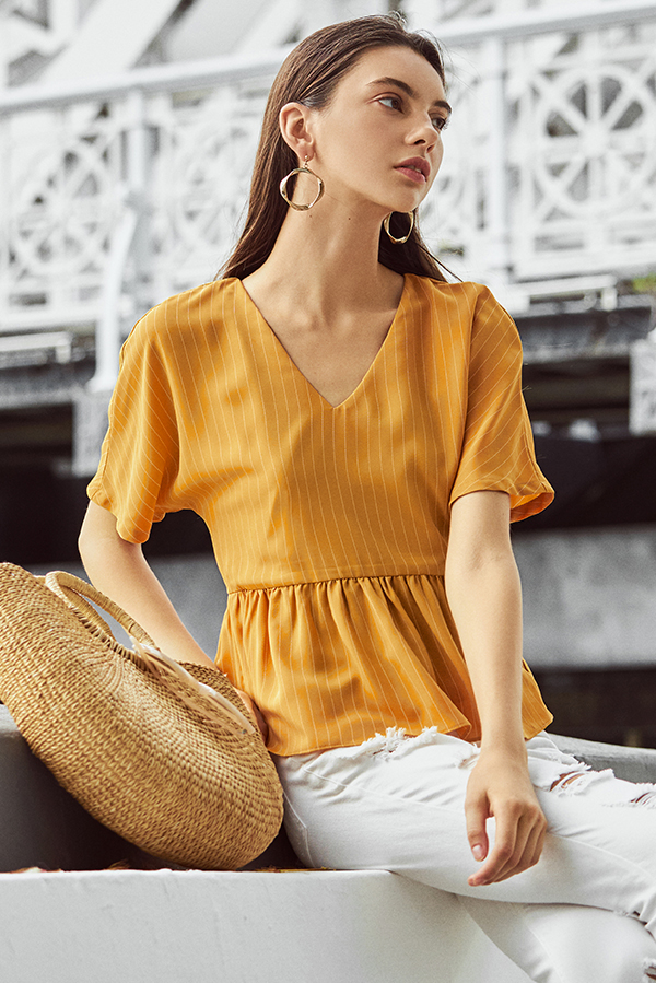 Helene Stripes Peplum Top in Marigold