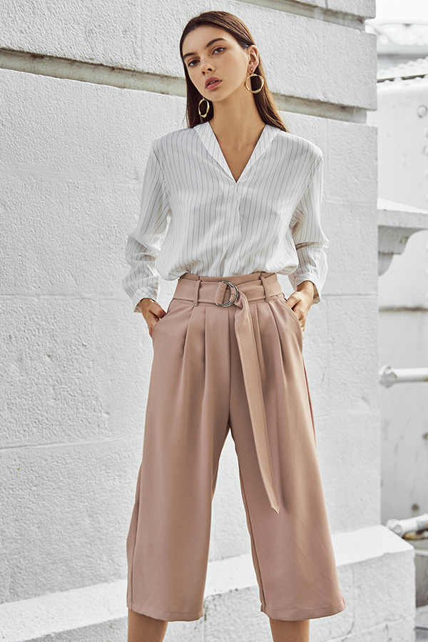 Milane Belted Culottes in Nude Pink
