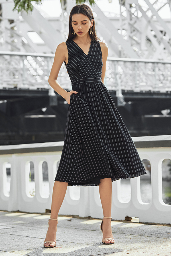 Regine Stripes Midi Dress