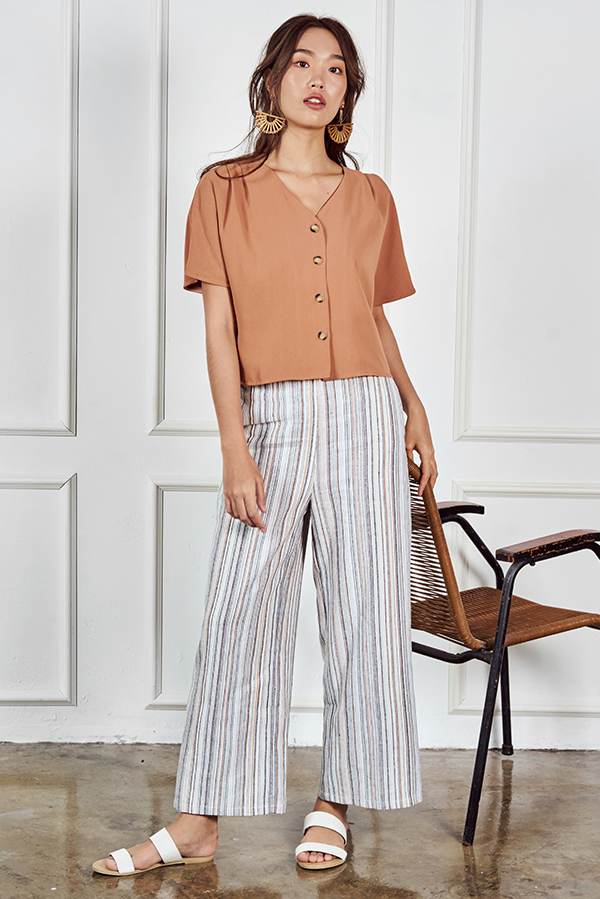 Calina Buttoned Top in Sienna