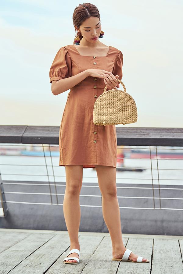 Jude Pouf Sleeves Linen Dress in Sierra
