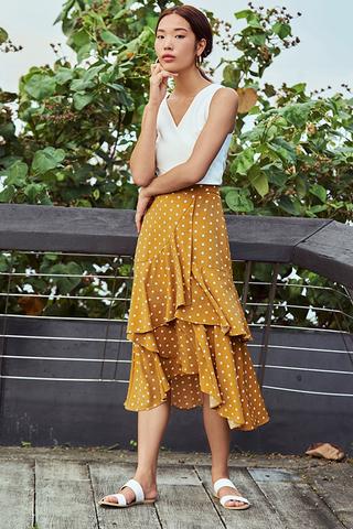 Mia Dotted Ruffles Midi Skirt