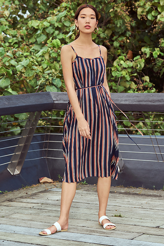 Winsel Stripes Pleated Midi Dress