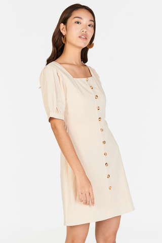 Jude Pouf Sleeves Linen Dress in Cream
