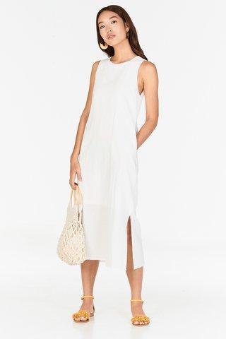 *Restock* Kerine Linen Midi Dress in White