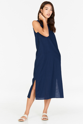 *Restock* Kerine Linen Midi Dress in Navy