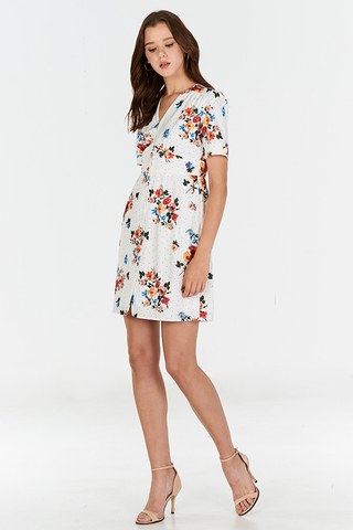 Clarice Floral Dotted Dress in White