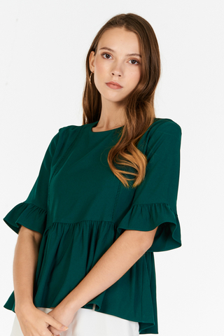 Ashley Peplum Top in Forest