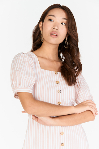 Hara Stripes Pouf Sleeves Dress in Light Pink