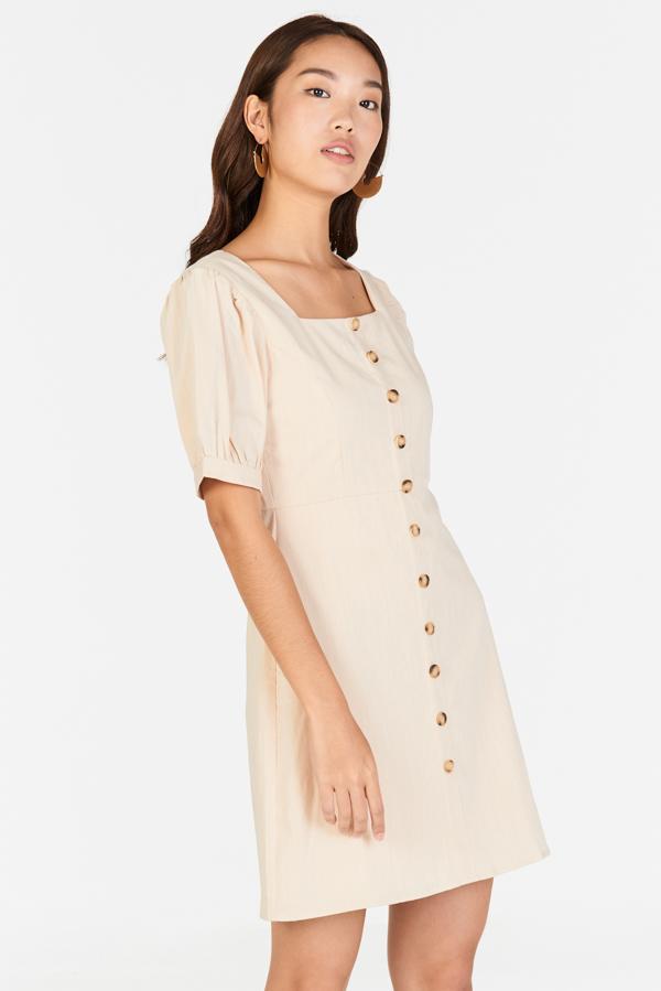 Jude Pouf Sleeves Linen Dress in Cream