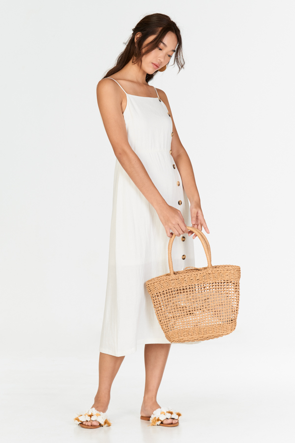 Erina Linen Midi Dress in White