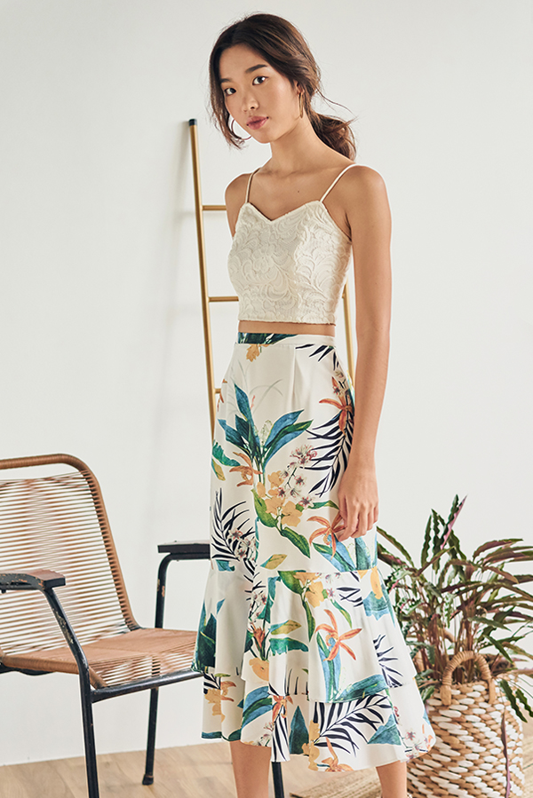 *Restock* Corelia Tropical Printed Midi Skirt