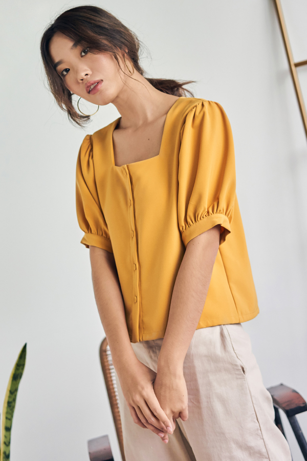 Gerina Square Neck Top in Marigold