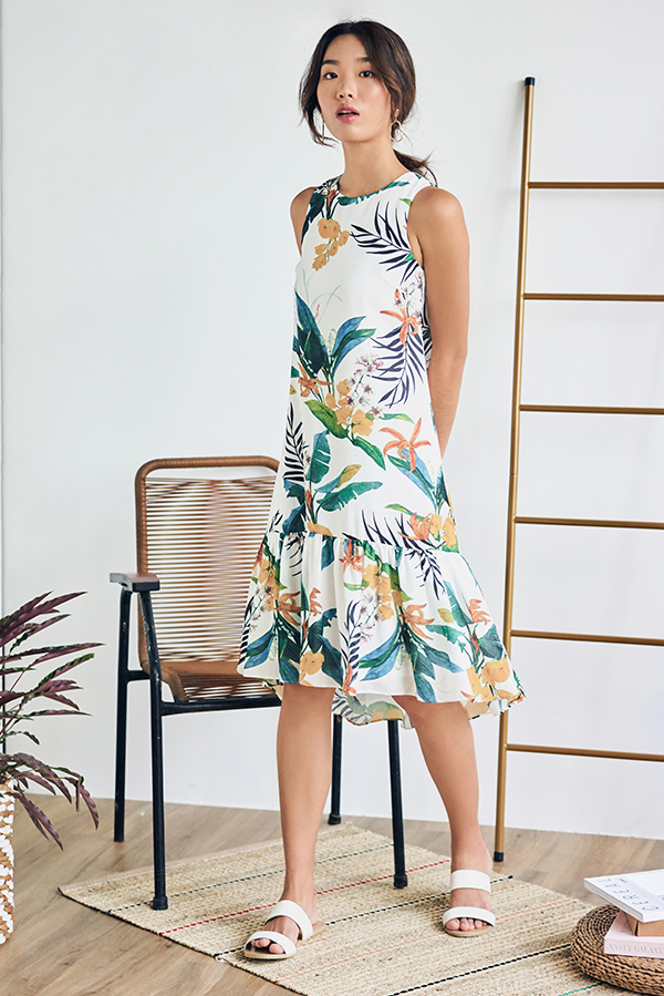 *Backorder 2* Corelia Tropical Printed Dropwaist Dress