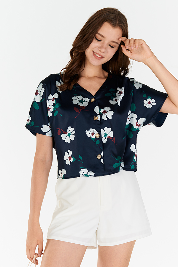 Calin Floral Printed Buttoned Top