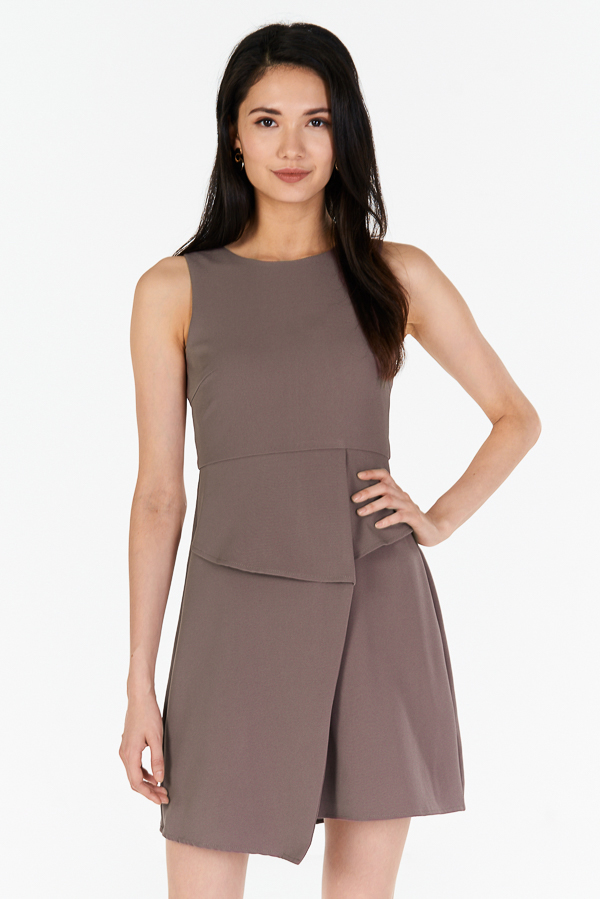 *W. By TCL* Kino Overlap Dress in Taupe