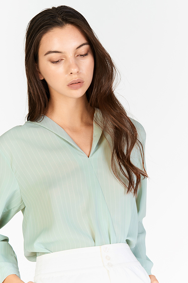 *Restock* Helene Stripes Top in Sage Green
