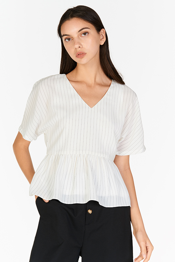 Helene Stripes Peplum Top in White
